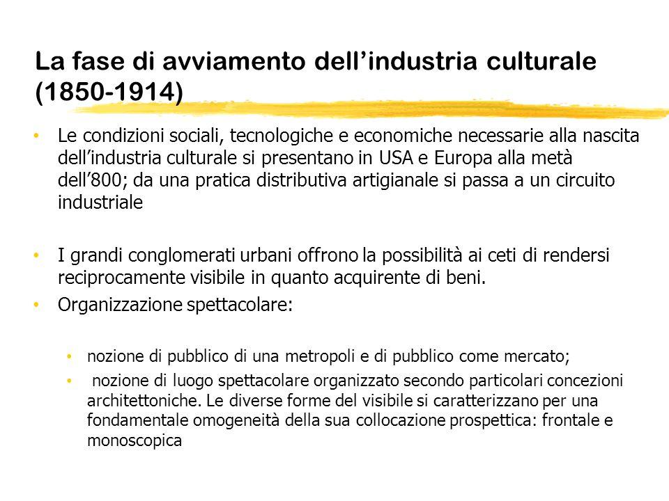 La fase di avviamento dellindustria culturale (1850-1914) Le condizioni sociali, tecnologiche e economiche necessarie alla nascita dellindustria cultu