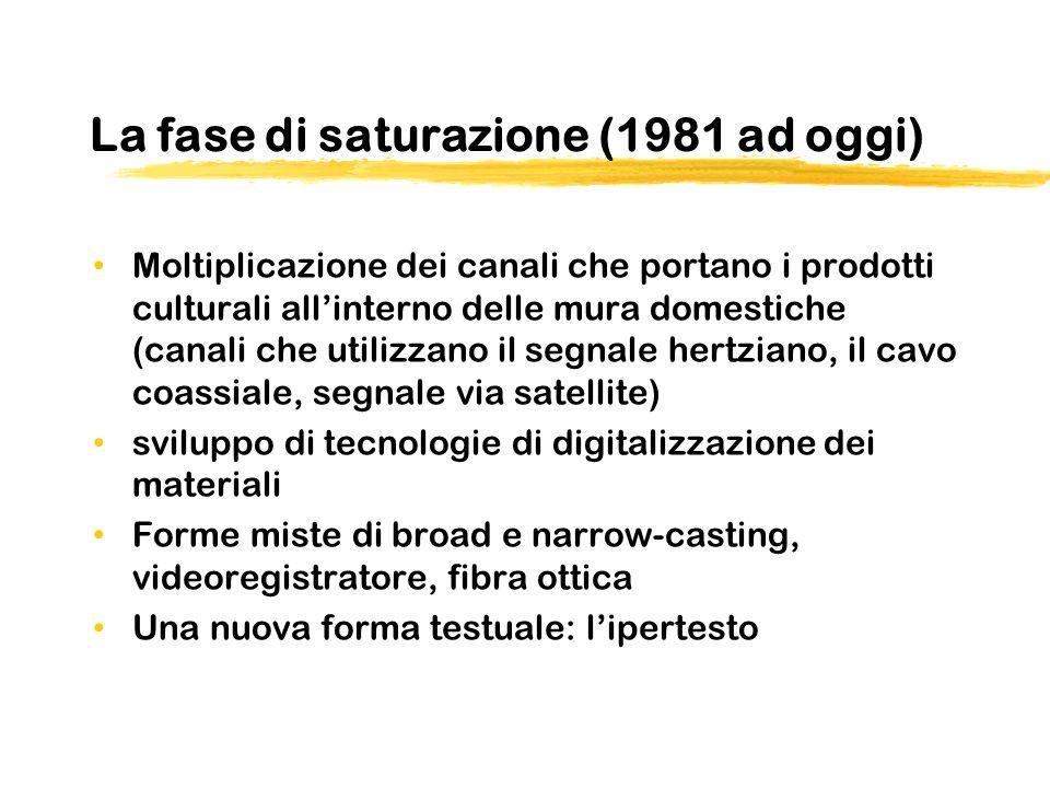 La fase di saturazione (1981 ad oggi) Moltiplicazione dei canali che portano i prodotti culturali allinterno delle mura domestiche (canali che utilizz