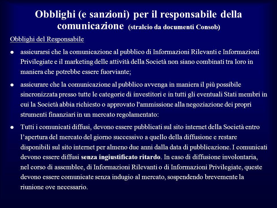 Obblighi (e sanzioni) per il responsabile della comunicazione (stralcio da documenti Consob) Obblighi del Responsabile assicurarsi che la comunicazion
