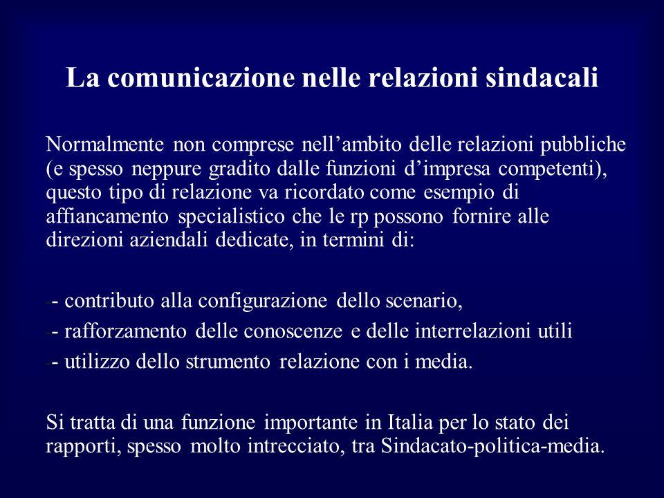 La comunicazione nelle relazioni sindacali Normalmente non comprese nellambito delle relazioni pubbliche (e spesso neppure gradito dalle funzioni dimp