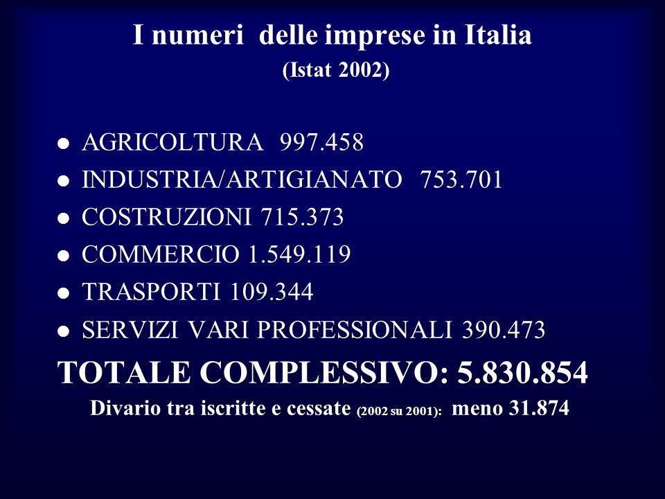 I numeri delle imprese in Italia (Istat 2002) AGRICOLTURA 997.458 INDUSTRIA/ARTIGIANATO 753.701 COSTRUZIONI 715.373 COMMERCIO 1.549.119 TRASPORTI 109.