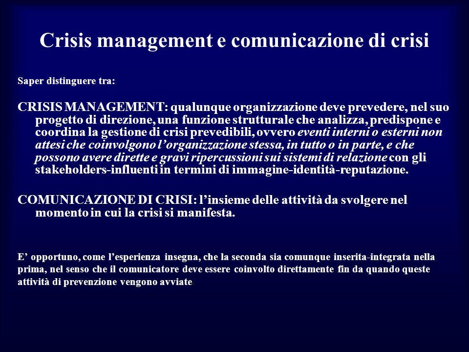 Crisis management e comunicazione di crisi Saper distinguere tra: CRISIS MANAGEMENT: qualunque organizzazione deve prevedere, nel suo progetto di dire