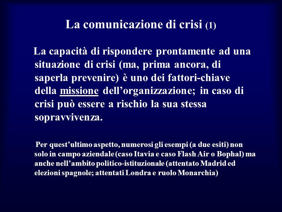 La comunicazione di crisi (1) La capacità di rispondere prontamente ad una situazione di crisi (ma, prima ancora, di saperla prevenire) è uno dei fatt