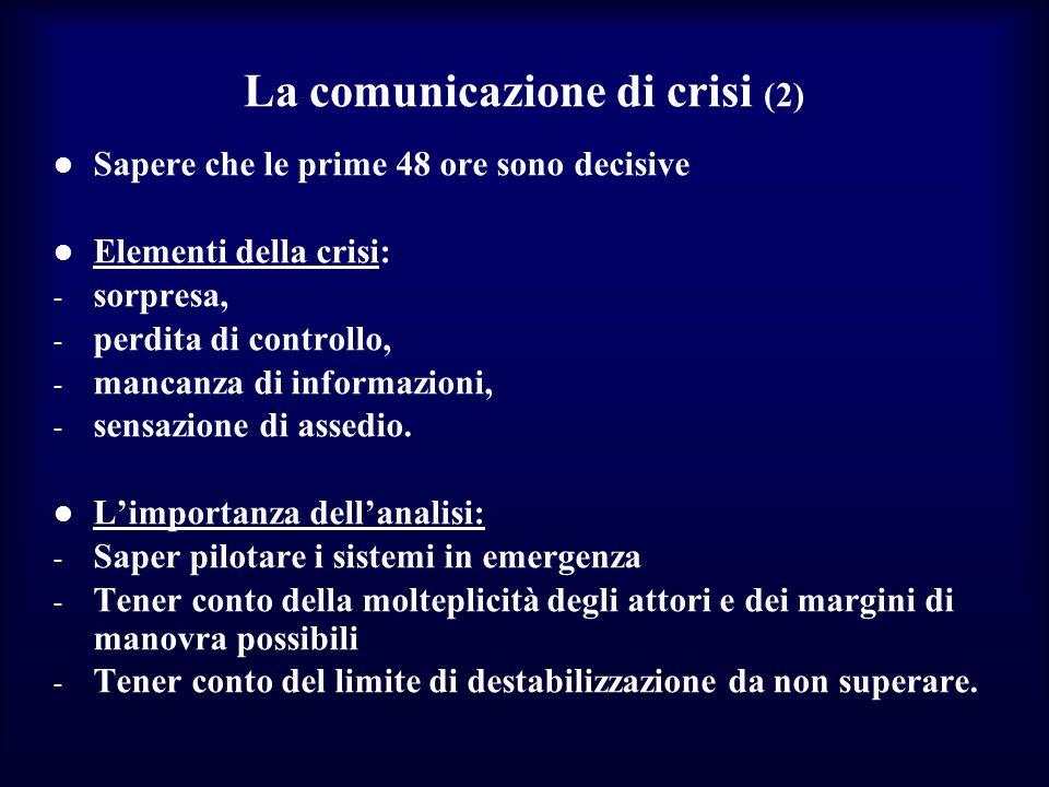 La comunicazione di crisi (2) Sapere che le prime 48 ore sono decisive Elementi della crisi: - sorpresa, - perdita di controllo, - mancanza di informa