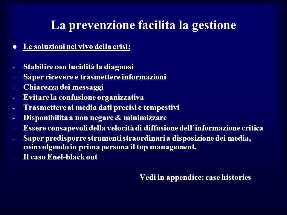 La prevenzione facilita la gestione Le soluzioni nel vivo della crisi: - Stabilire con lucidità la diagnosi - Saper ricevere e trasmettere informazion