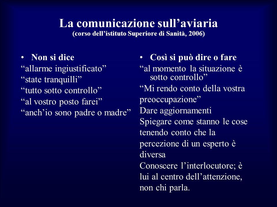 La comunicazione sullaviaria (corso dellistituto Superiore di Sanità, 2006) Non si dice allarme ingiustificato state tranquilli tutto sotto controllo