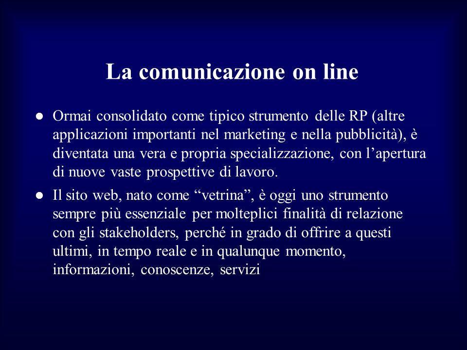 La comunicazione on line Ormai consolidato come tipico strumento delle RP (altre applicazioni importanti nel marketing e nella pubblicità), è diventat
