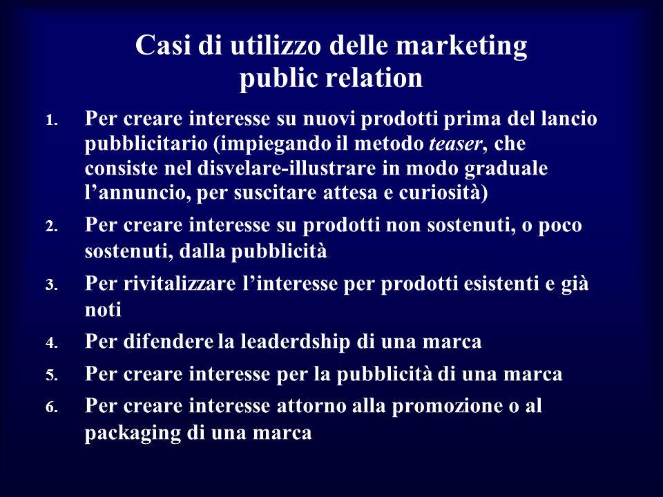 Casi di utilizzo delle marketing public relation 1. Per creare interesse su nuovi prodotti prima del lancio pubblicitario (impiegando il metodo teaser
