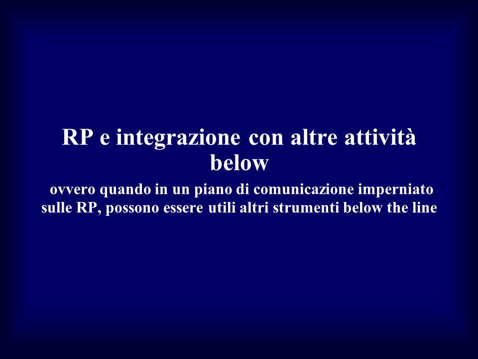 RP e integrazione con altre attività below ovvero quando in un piano di comunicazione imperniato sulle RP, possono essere utili altri strumenti below