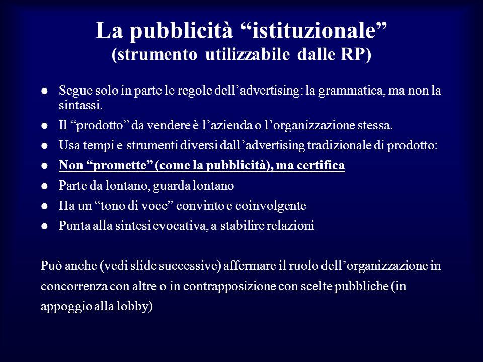 La pubblicità istituzionale (strumento utilizzabile dalle RP) Segue solo in parte le regole delladvertising: la grammatica, ma non la sintassi. Il pro