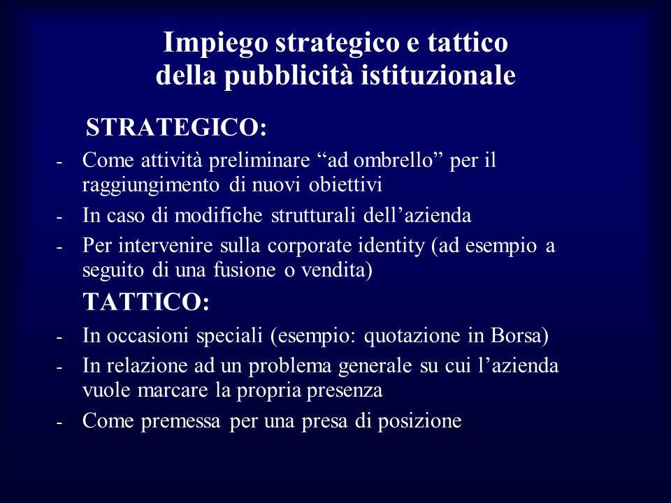Impiego strategico e tattico della pubblicità istituzionale STRATEGICO: - Come attività preliminare ad ombrello per il raggiungimento di nuovi obietti