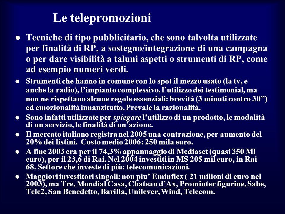 Le telepromozioni Tecniche di tipo pubblicitario, che sono talvolta utilizzate per finalità di RP, a sostegno/integrazione di una campagna o per dare