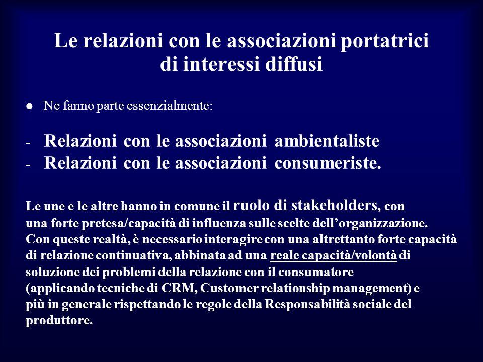 Le relazioni con le associazioni portatrici di interessi diffusi Ne fanno parte essenzialmente: - Relazioni con le associazioni ambientaliste - Relazi