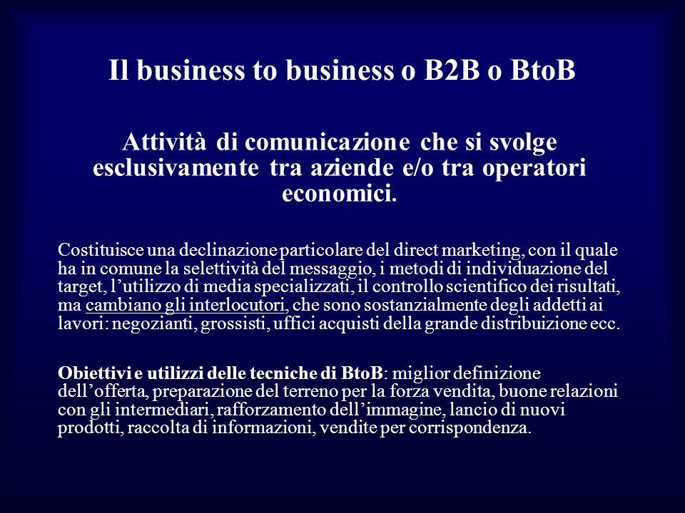 Il business to business o B2B o BtoB Attività di comunicazione che si svolge esclusivamente tra aziende e/o tra operatori economici. Costituisce una d