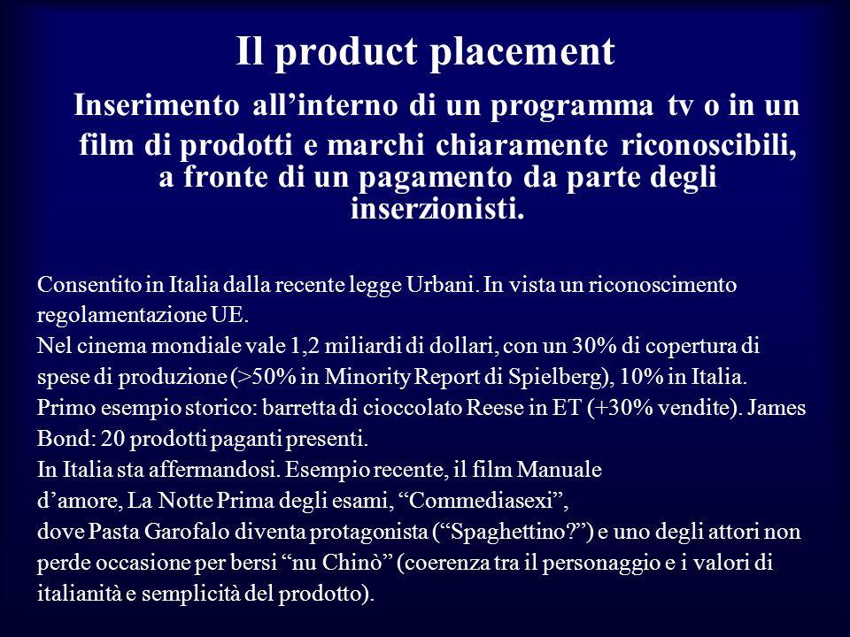 Il product placement Inserimento allinterno di un programma tv o in un film di prodotti e marchi chiaramente riconoscibili, a fronte di un pagamento d