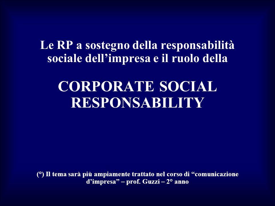 Le RP a sostegno della responsabilità sociale dellimpresa e il ruolo della CORPORATE SOCIAL RESPONSABILITY (°) Il tema sarà più ampiamente trattato ne