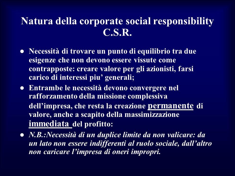 Natura della corporate social responsibility C.S.R. Necessità di trovare un punto di equilibrio tra due esigenze che non devono essere vissute come co