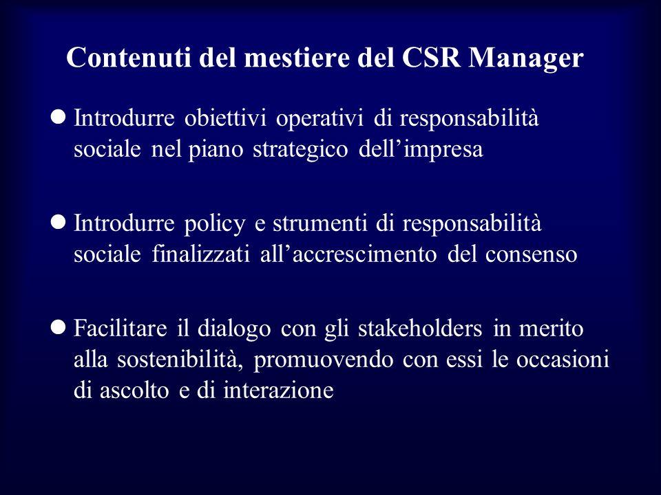 Contenuti del mestiere del CSR Manager Introdurre obiettivi operativi di responsabilità sociale nel piano strategico dellimpresa Introdurre policy e s