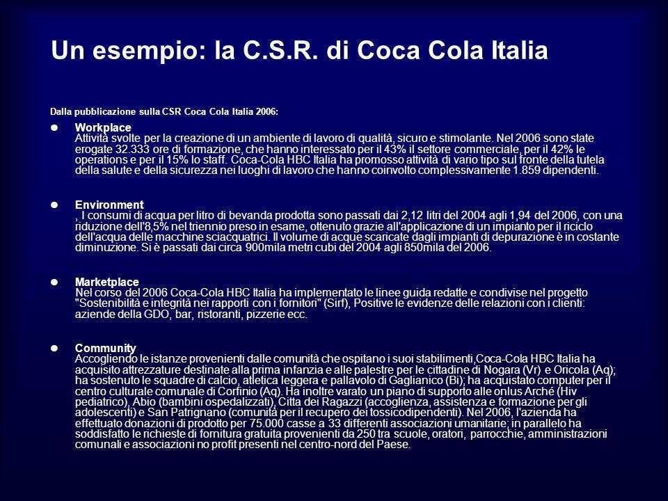 Un esempio: la C.S.R. di Coca Cola Italia Dalla pubblicazione sulla CSR Coca Cola Italia 2006: Workplace Attività svolte per la creazione di un ambien