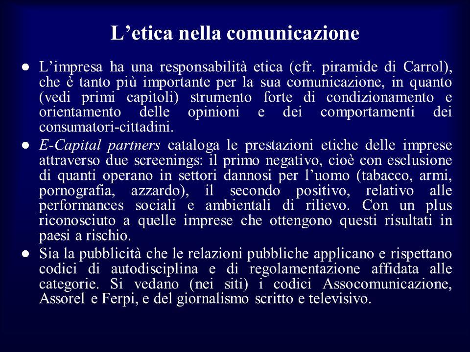 Letica nella comunicazione Limpresa ha una responsabilità etica (cfr. piramide di Carrol), che è tanto più importante per la sua comunicazione, in qua