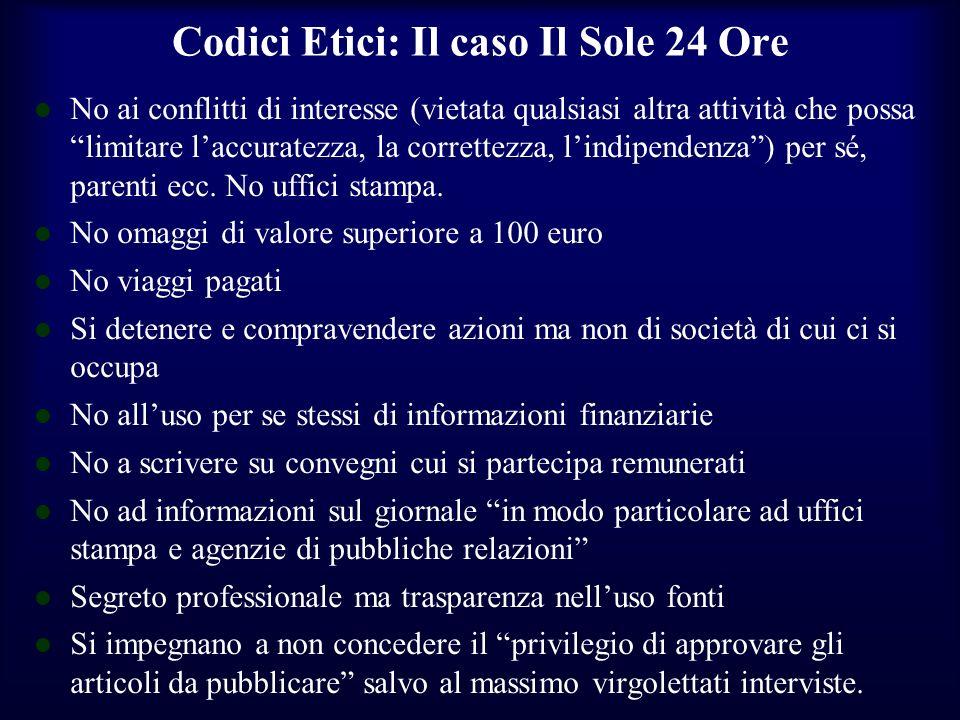 Codici Etici: Il caso Il Sole 24 Ore No ai conflitti di interesse (vietata qualsiasi altra attività che possa limitare laccuratezza, la correttezza, l