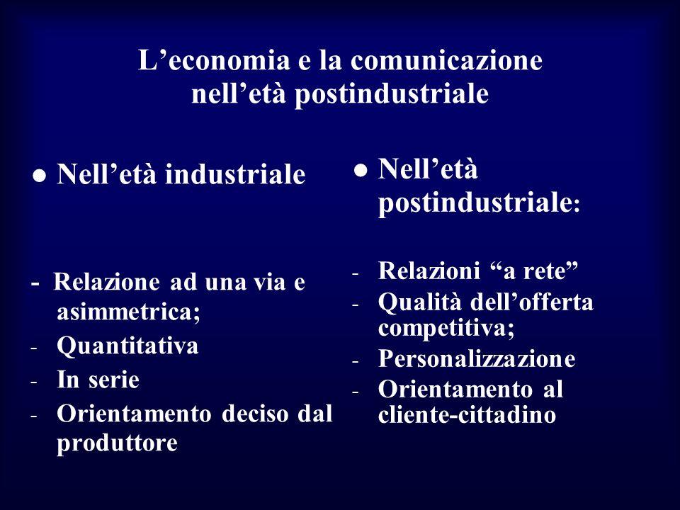Leconomia e la comunicazione nelletà postindustriale Nelletà industriale - Relazione ad una via e asimmetrica; - Quantitativa - In serie - Orientament