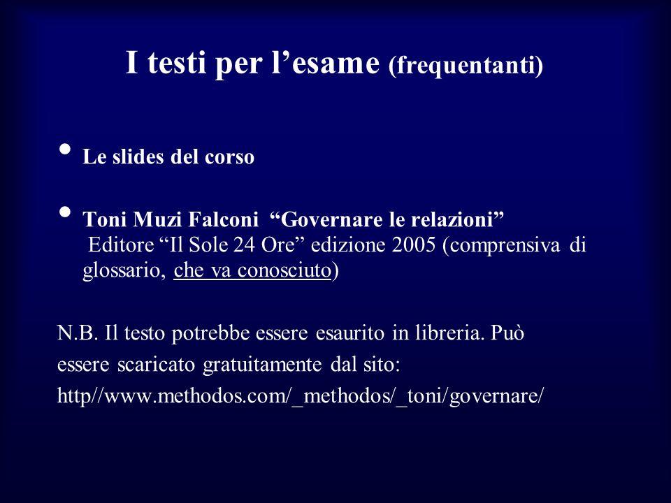 I testi per lesame (frequentanti) Le slides del corso Toni Muzi Falconi Governare le relazioni Editore Il Sole 24 Ore edizione 2005 (comprensiva di gl
