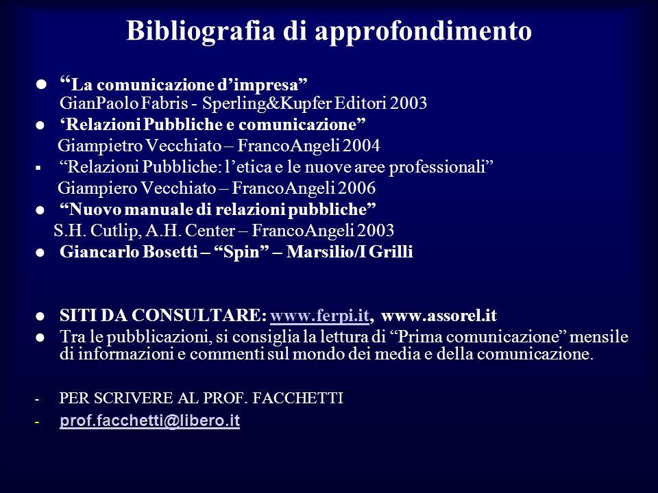 Bibliografia di approfondimento La comunicazione dimpresa GianPaolo Fabris - Sperling&Kupfer Editori 2003 Relazioni Pubbliche e comunicazione Giampiet