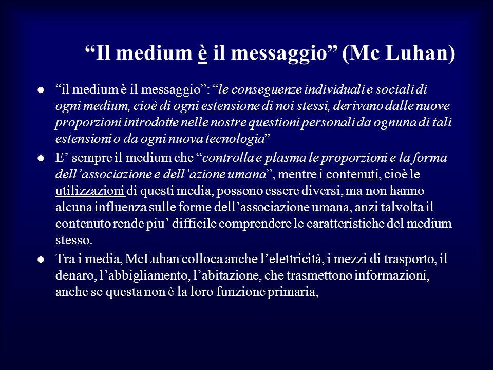 Il medium è il messaggio (Mc Luhan) il medium è il messaggio: le conseguenze individuali e sociali di ogni medium, cioè di ogni estensione di noi stes