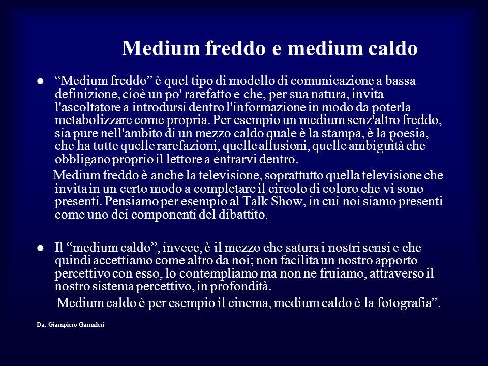 Medium freddo e medium caldo Medium freddo è quel tipo di modello di comunicazione a bassa definizione, cioè un po' rarefatto e che, per sua natura, i