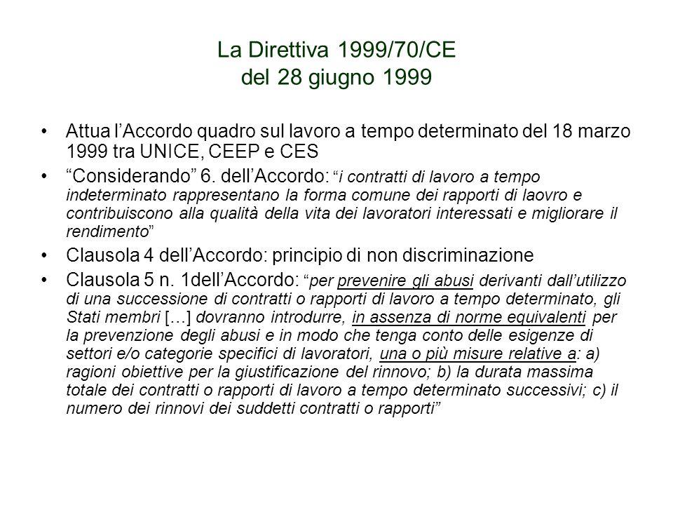 La Direttiva 1999/70/CE del 28 giugno 1999 Attua lAccordo quadro sul lavoro a tempo determinato del 18 marzo 1999 tra UNICE, CEEP e CES Considerando 6.