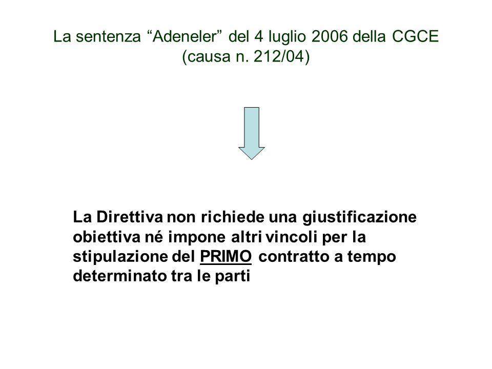 Lattuazione della clausola 5 n.
