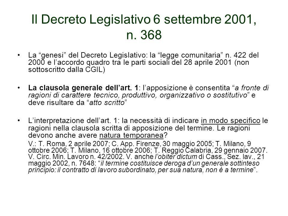 Il Decreto Legislativo 6 settembre 2001, n.368 Le clausole di contingentamento dellart.