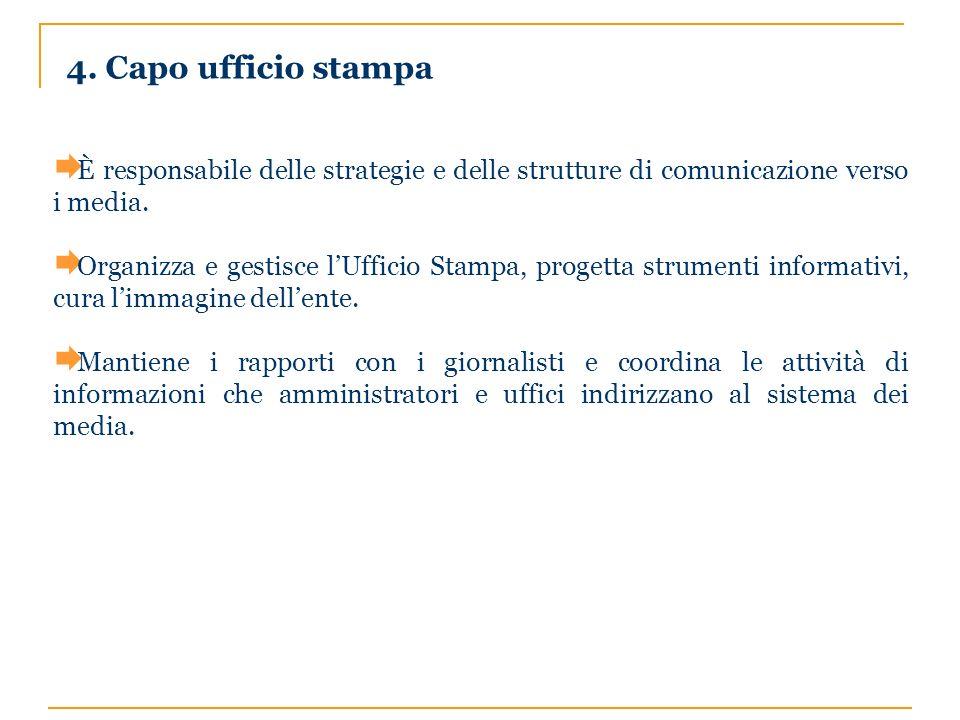4. Capo ufficio stampa È responsabile delle strategie e delle strutture di comunicazione verso i media. Organizza e gestisce lUfficio Stampa, progetta