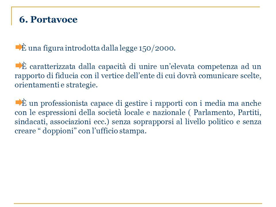 6. Portavoce È una figura introdotta dalla legge 150/2000.