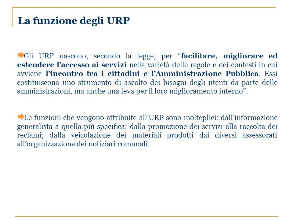 Gli URP nascono, secondo la legge, per facilitare, migliorare ed estendere laccesso ai servizi nella varietà delle regole e dei contesti in cui avviene lincontro tra i cittadini e lAmministrazione Pubblica.