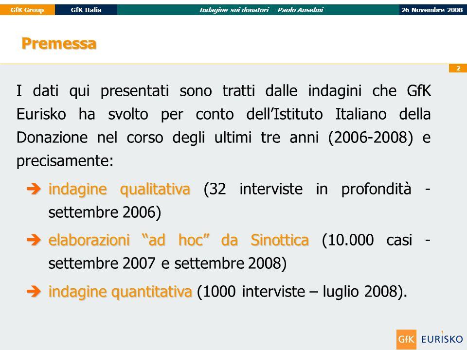 26 Novembre 2008GfK GroupGfK ItaliaIndagine sui donatori - Paolo Anselmi 2 Premessa I dati qui presentati sono tratti dalle indagini che GfK Eurisko ha svolto per conto dellIstituto Italiano della Donazione nel corso degli ultimi tre anni (2006-2008) e precisamente: indagine qualitativa indagine qualitativa (32 interviste in profondità - settembre 2006) elaborazioni ad hoc da Sinottica elaborazioni ad hoc da Sinottica (10.000 casi - settembre 2007 e settembre 2008) indagine quantitativa indagine quantitativa (1000 interviste – luglio 2008).