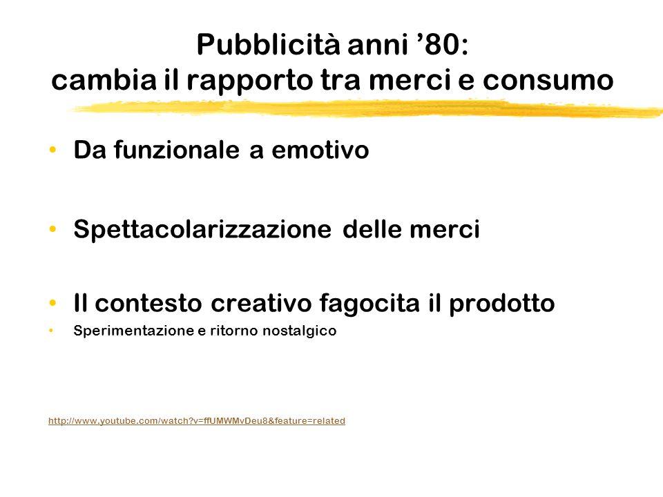 Pubblicità anni 80: cambia il rapporto tra merci e consumo Da funzionale a emotivo Spettacolarizzazione delle merci Il contesto creativo fagocita il p