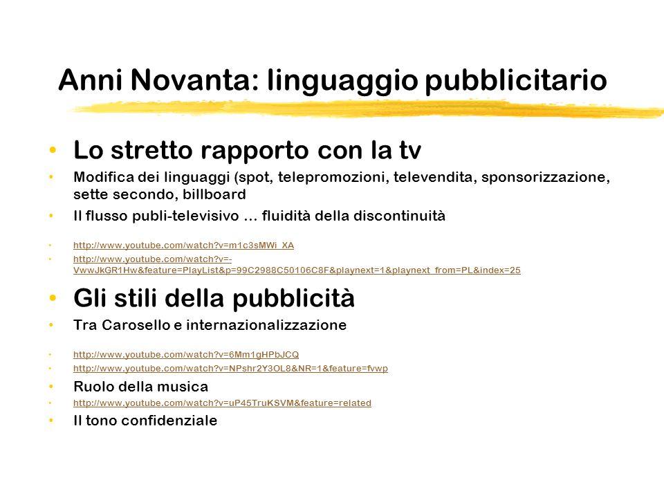 Anni Novanta: linguaggio pubblicitario Lo stretto rapporto con la tv Modifica dei linguaggi (spot, telepromozioni, televendita, sponsorizzazione, sette secondo, billboard Il flusso publi-televisivo … fluidità della discontinuità http://www.youtube.com/watch?v=m1c3sMWi_XA http://www.youtube.com/watch?v=- VwwJkGR1Hw&feature=PlayList&p=99C2988C50106C8F&playnext=1&playnext_from=PL&index=25 http://www.youtube.com/watch?v=- VwwJkGR1Hw&feature=PlayList&p=99C2988C50106C8F&playnext=1&playnext_from=PL&index=25 Gli stili della pubblicità Tra Carosello e internazionalizzazione http://www.youtube.com/watch?v=6Mm1gHPbJCQ http://www.youtube.com/watch?v=NPshr2Y3OL8&NR=1&feature=fvwp Ruolo della musica http://www.youtube.com/watch?v=uP45TruKSVM&feature=related Il tono confidenziale