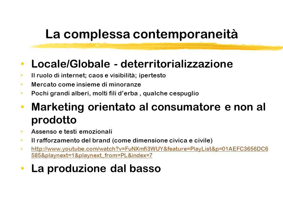 La complessa contemporaneità Locale/Globale - deterritorializzazione Il ruolo di internet; caos e visibilità; ipertesto Mercato come insieme di minora