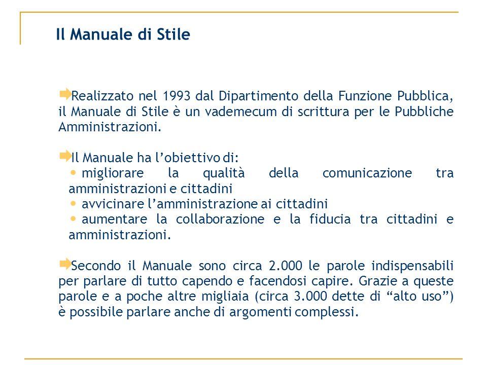 Realizzato nel 1993 dal Dipartimento della Funzione Pubblica, il Manuale di Stile è un vademecum di scrittura per le Pubbliche Amministrazioni.