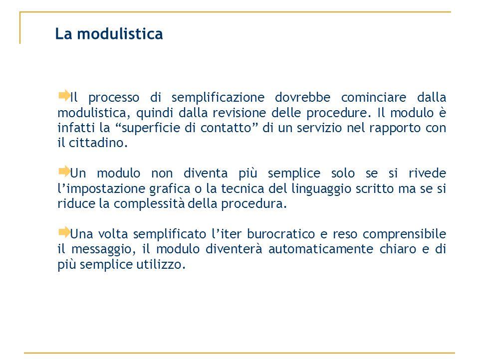 Il processo di semplificazione dovrebbe cominciare dalla modulistica, quindi dalla revisione delle procedure.