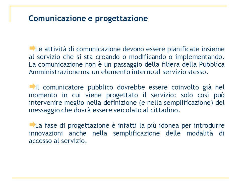 Le attività di comunicazione devono essere pianificate insieme al servizio che si sta creando o modificando o implementando.