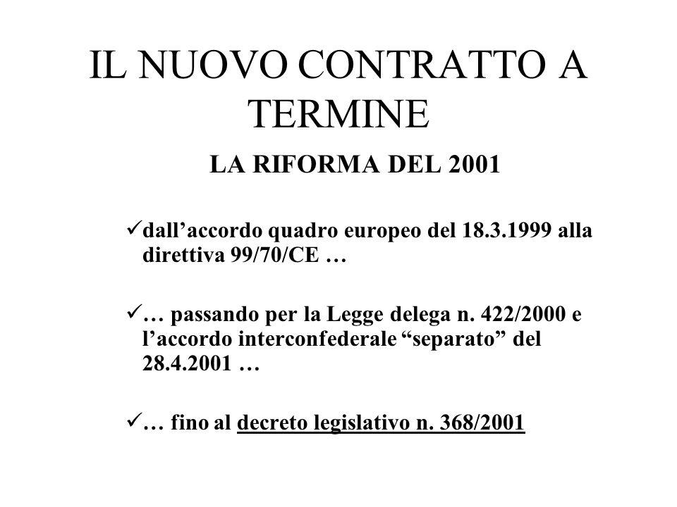 IL NUOVO CONTRATTO A TERMINE LA RIFORMA DEL 2001 dallaccordo quadro europeo del 18.3.1999 alla direttiva 99/70/CE … … passando per la Legge delega n.