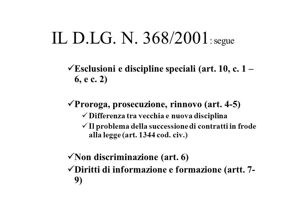IL D.LG. N. 368/2001 : segue Esclusioni e discipline speciali (art. 10, c. 1 – 6, e c. 2) Proroga, prosecuzione, rinnovo (art. 4-5) Differenza tra vec
