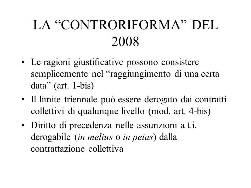 LA CONTRORIFORMA DEL 2008 Le ragioni giustificative possono consistere semplicemente nel raggiungimento di una certa data (art. 1-bis) Il limite trien
