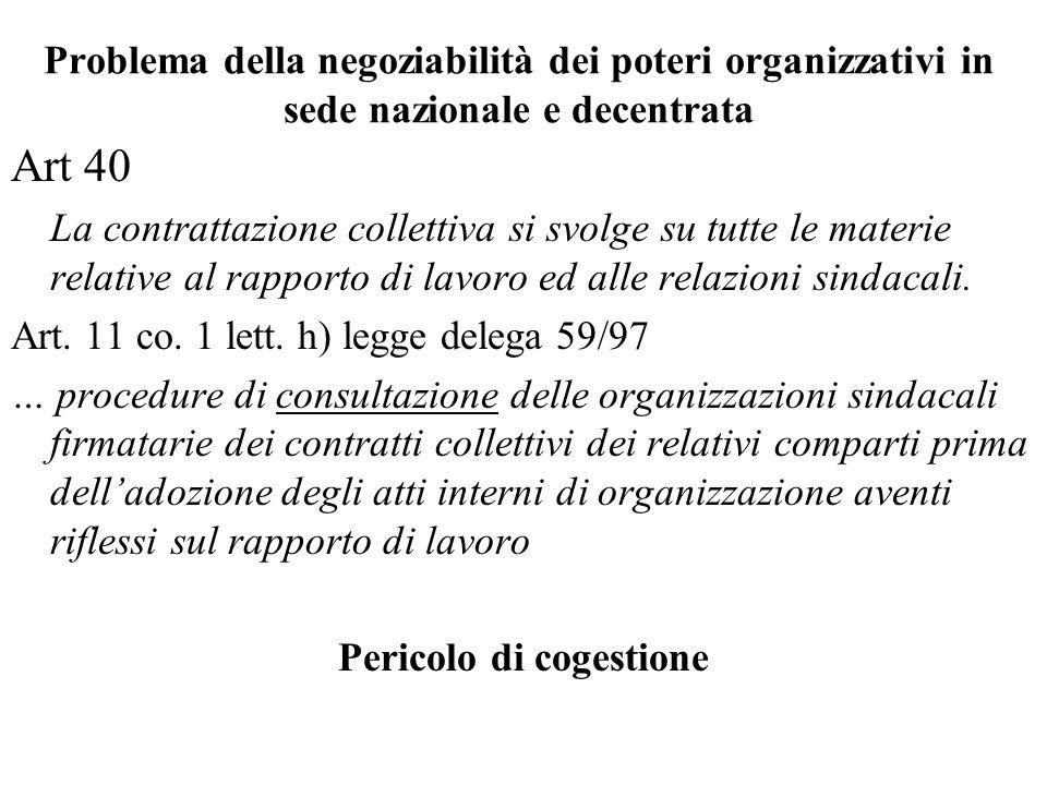 Problema della negoziabilità dei poteri organizzativi in sede nazionale e decentrata Art 40 La contrattazione collettiva si svolge su tutte le materie relative al rapporto di lavoro ed alle relazioni sindacali.