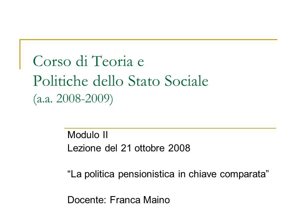 Uno schema esplicativo delle riforme pensionistiche Sfide Politiche e istituzioni pensionistiche Politics pensionistica Riforme (contenuti ed effetti)