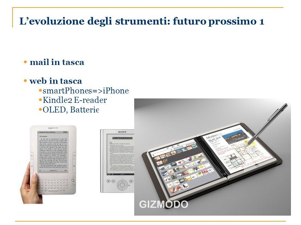 Levoluzione degli strumenti: futuro prossimo 1 mail in tasca web in tasca smartPhones=>iPhone Kindle2 E-reader OLED, Batterie a celle di combustibile
