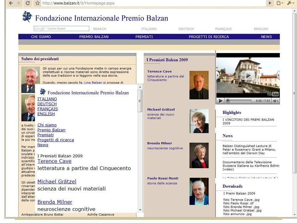 Esempio: la fondazione Balzan